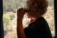 This was Charlie during most of our meals. Obsessed with his binoculars!