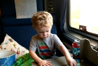 Amtrak Roomette Interior - Folded table is a great spot for play time!